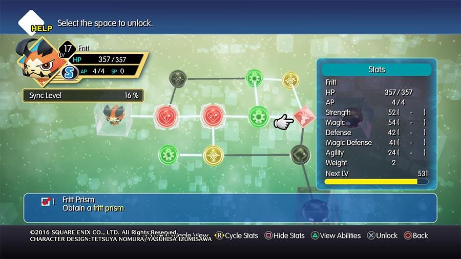 World of Final Fantasy Tabla de Habilidades