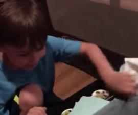 La increíble reacción de este niño al recibir un Transformer