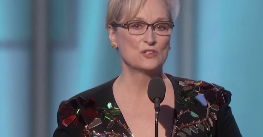 Meryl Streep durante su concurso en los Globos de Oro