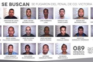 Foto con los rostros y nombres de los reos que escaparon del penal de Tamaulipas.