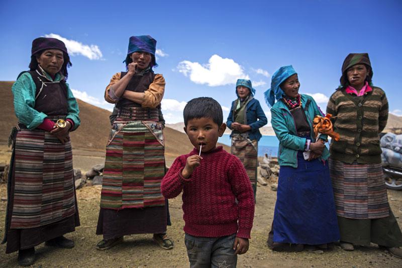 Una familia en el Tibet