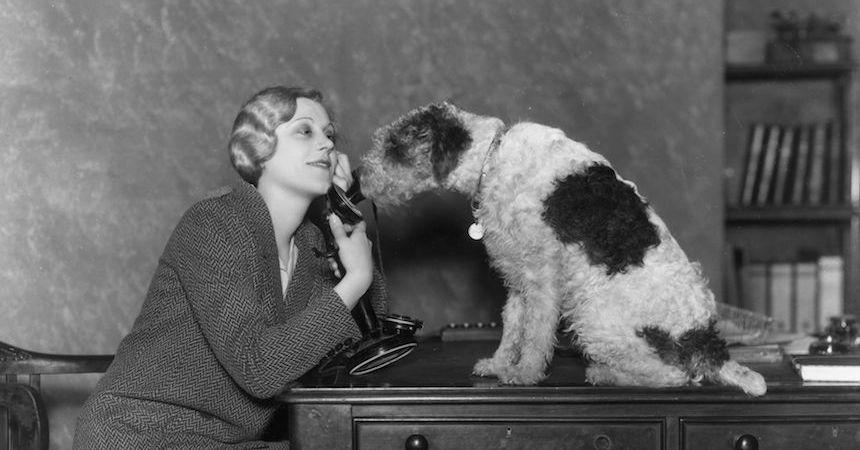 Mujero hablando con su mascota