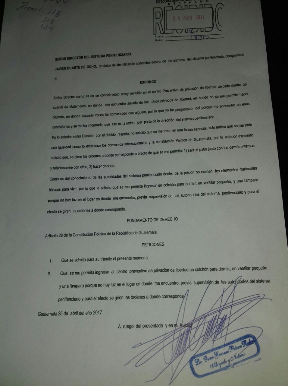 Carta enviada por Javier Duarte
