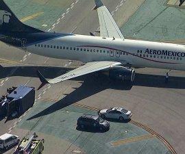 avión de Aeroméxico choca con camión en aeropuerto de Los ángeles