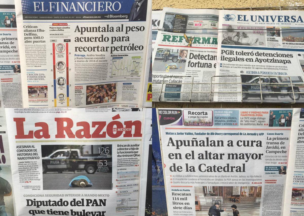 Portadas de los diarios un día después del asesinato de Javier Valdez