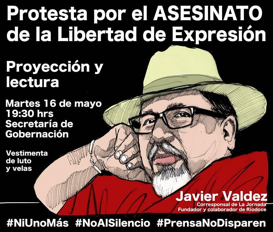 Protesta en Gobernación por asesinato del periodista Javier Valdez