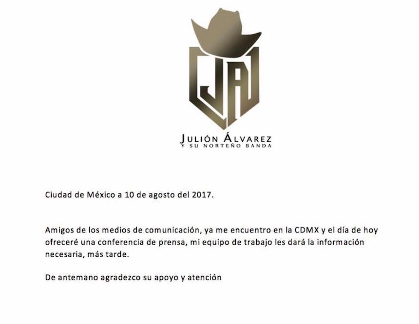 Julión Álvarez ofrecerá una conferencia de prensa para aclarar su situación