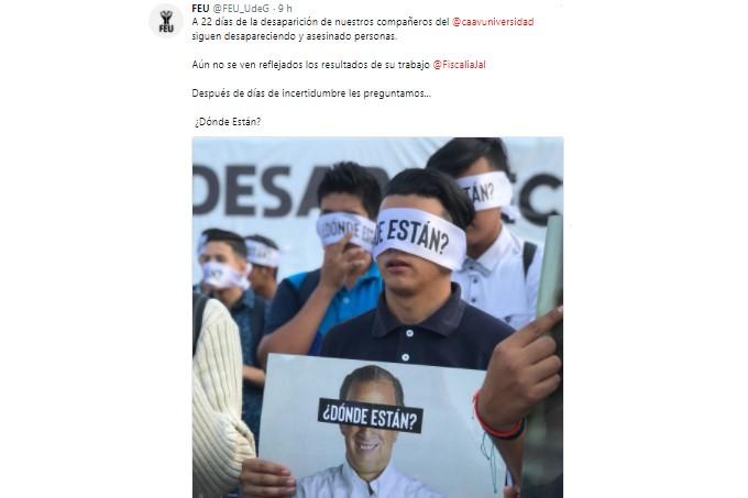 Tuit de la FEU, desaparición estudiantes Jalisco