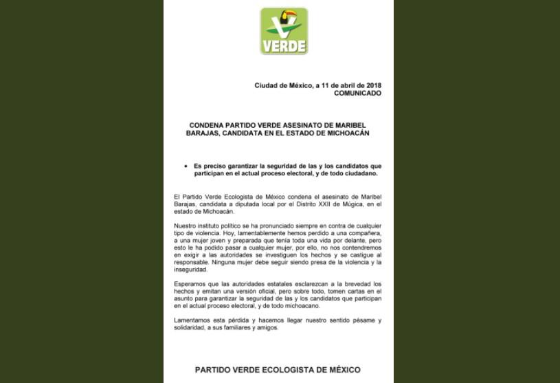 Comunicado PVEM, asesinado de candidata Maribel Barajas