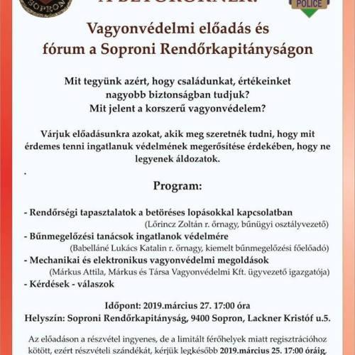Ingyenes tájékoztató fórumra várja az érdeklődőket a Soproni Rendőrkapitányság