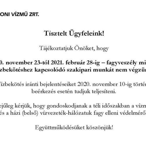 Közérdekű infók a Soproni Vízmű Zrt.-től!