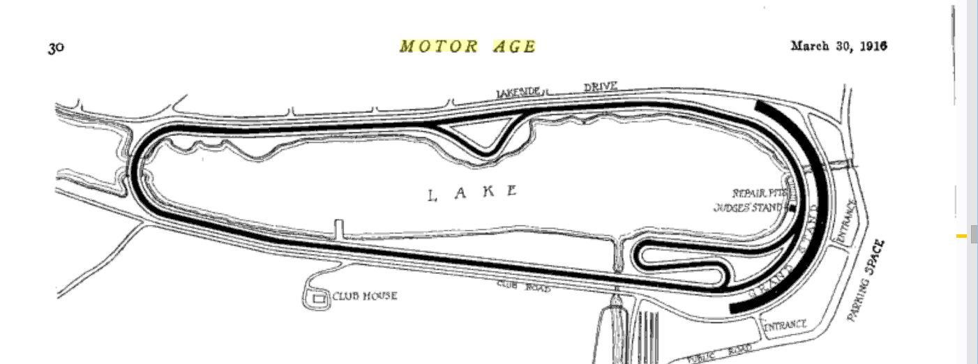 The diagram of the track as seen in Motor Age magazine, March 1916