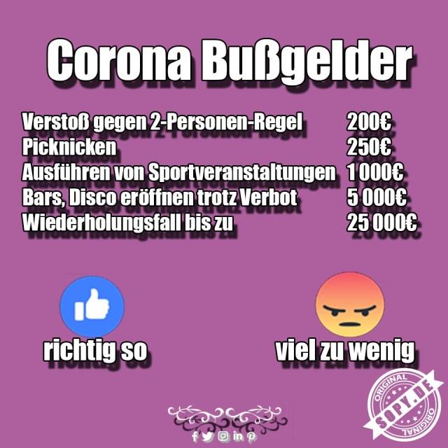 Corona Bußgelder