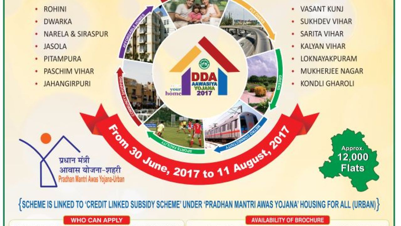 DDA Housing Schemes 2017 Launched – Apply Online, Details