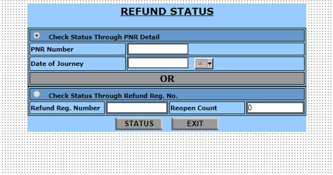 Check Real Time Refund Status of Railways Tickets Online