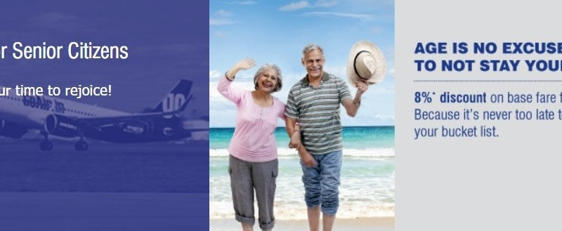 GoAir 8% Discount Offers to Senior Citizen on Air Ticket Booking