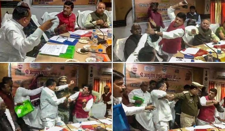 BJP MP Sharad Tripathi Beats Party MLA Rakesh Baghel With 'Shoe'