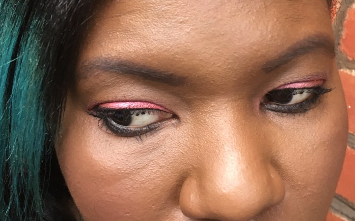 Close up of Berber pigment as eyeshadow in my finished daytime look for my Valentines Day Makeup ideas post. Click to see how I used my fave Illamasqua products for this look. See how I created my daytime and evening looks!