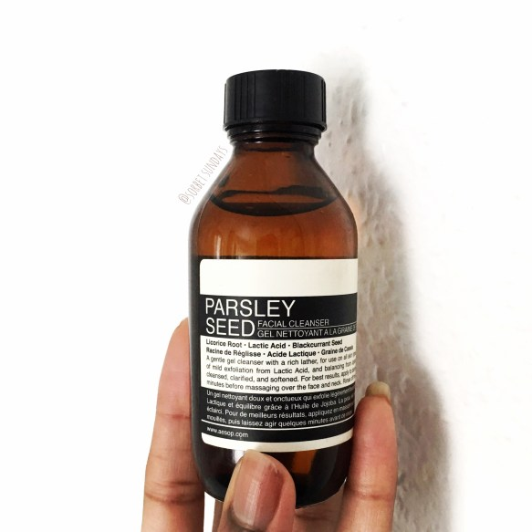 My Aesop Parsley Seed Facial Cleanser review. My thoughts after using it for a year.