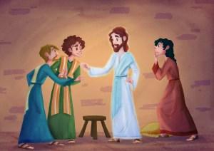 Illustration av den uppståndne Jesus och Tomas