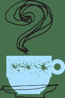 Illustration av kaffekopp med frågetecken