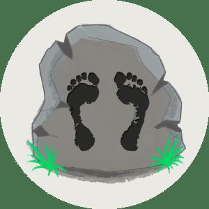 Illustration av fotspår