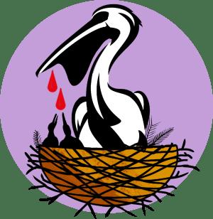 Illustration av en blödande pelikan som matar sina ungar