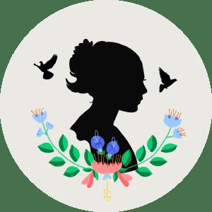 Illustration av en ung kvinna och duvor