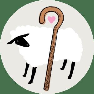 Illustration av ett får och en herdestav