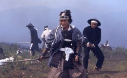 Soji Okita (Teruhiko Saigo) fights the imperial troops