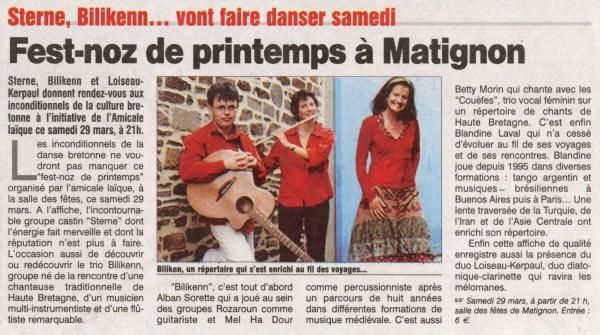 Le Petit Bleu, fest-noz à Matignon, mars 2008
