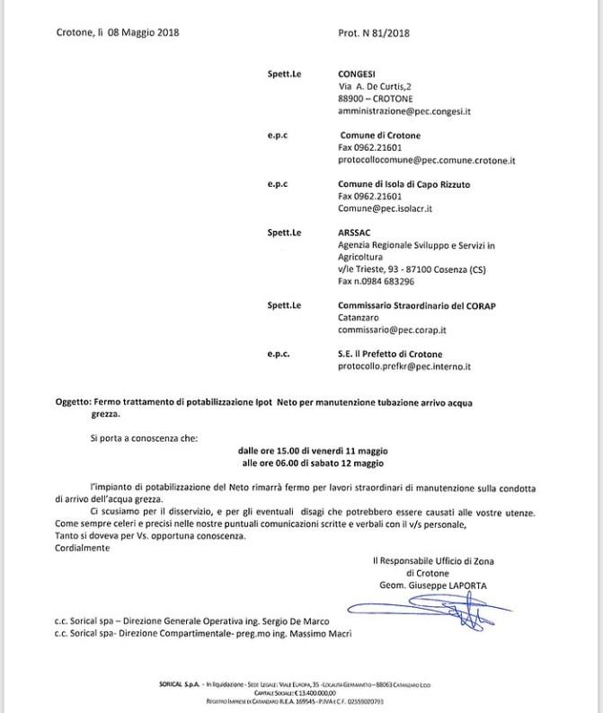 Crotone, fermo IPOT Neto per manutenzione condotta 14 431x510
