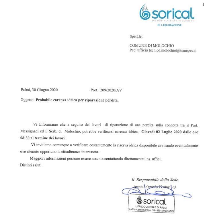 Molochio, domani carenza idrica per lavori img 4340