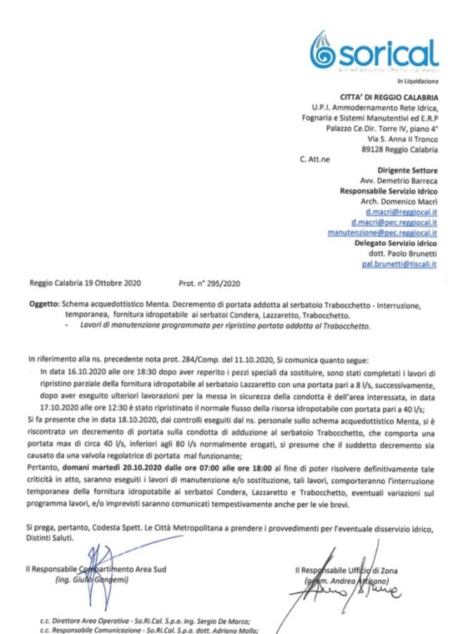 Acquedotto Menta, riduzione di portata per i serbatoi Condera, Lazzaretto e Trabocchetto. img 5284 658x900