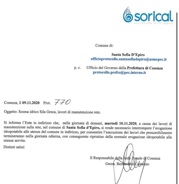 Domani interruzione a S. Sofia d'Epiro img 5386