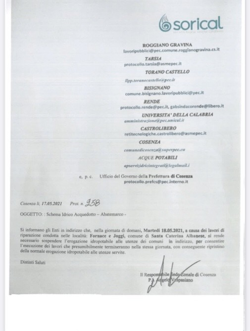 Domani 18 Maggio interruzione Abatemarco image