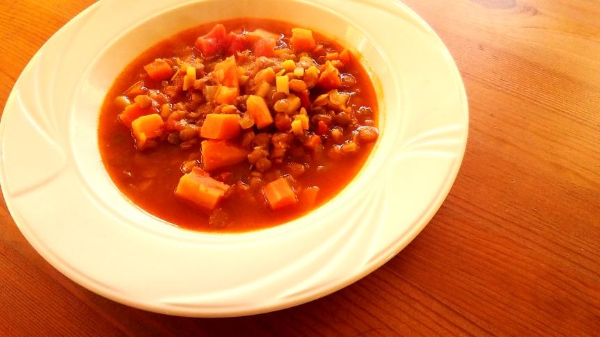 Supa marocana cu linte si cartof dulce