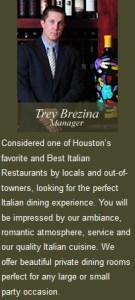Houston's Romantic Italian restaurant in the heart of the Montrose area
