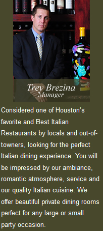 Houston's Romantic Italian restaurant in the heart of the Montrose area