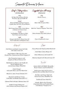 Sorrento Houston's finest italian Dinner Menus