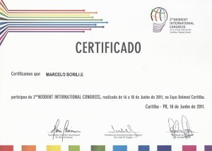 CERTIFICADO Certificamos que MARCELO BORILLE participou do 2º NEODENT INTERNATIONAL CONGRESS, realizado de 16 a 18 de Junho de 2011, no Expo Unimed Curitiba. Curitiba - PR, 18 de Junho de 2011.