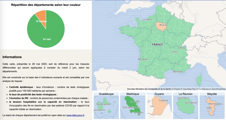 Map of France of the deconfinement by department on May 28, 2020