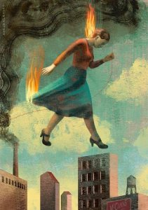 "Cover art for the novella ""Burning Girls"" by Veronica Schanoes. A girl in a red blouse and blue skirt walks above the skyline of New York City. Her hair and the trailing edge of her skirt have gone up in flames. Dark smoke scrolls up from a building on the left and arches over the girl."