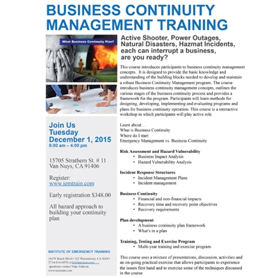 Business Continuity Management Training  120115