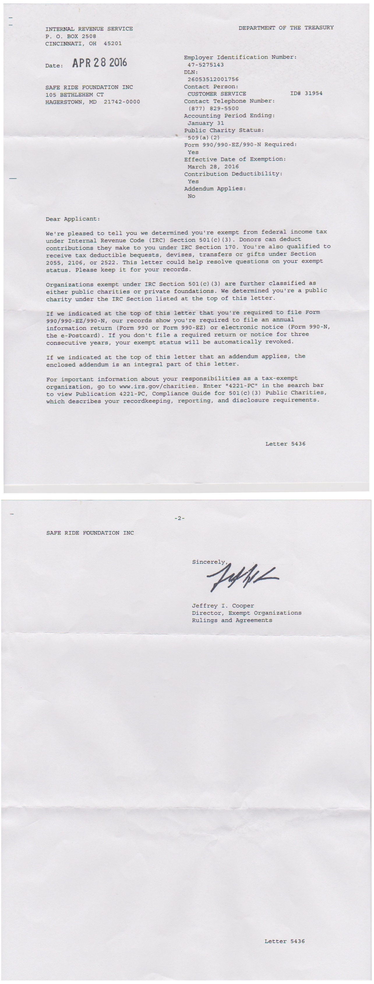 IRS 501(c)3 Determination Letter
