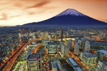 Vista de Tokyo, con el volcán Fuji al fondo