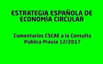 COMENTARIOS A LA CONSULTA PÚBLICA PREVIA DE LA ESTRATEGIA ESPAÑOLA DE ECONOMÍA CIRCULAR
