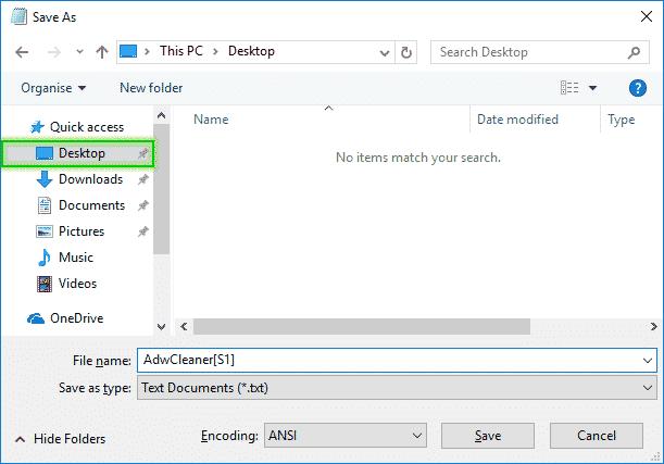 Save_As_Desktop_AdwCleanerS1_Logefile_Adwcleaner_sos-malware-1 Tutorial Adwcleaner - Scan Option