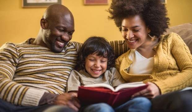 parents reading a book to their kid