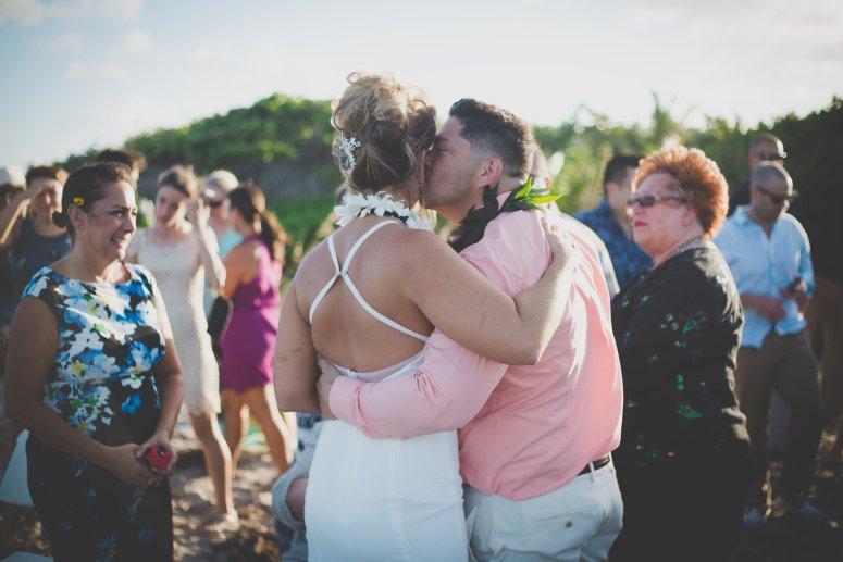 Hawaiian Wedding Ceremony Kiss